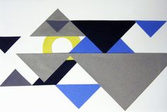 """Tangram: Introduction of the Triangle. Two studies are actually created. Goal is to use all the shapes produced from three differently sized tangrams to produce two studies that appear to have """"gen-like"""" qualities. The use of white (as a faceted highlight) is a vehicle to get them to think of negative space as a vital component in composition. The circle – or """"portion of"""" – is used to create a linkage or a transition either between shapes or from a shape to the edge of the working area."""