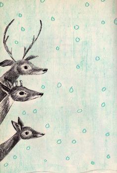 1000drawings:  Deer in the Snow by Leonard Kessler