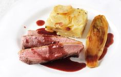 Duck breast with chicory and potato dauphinoise This duck dish from Josh Eggleton one of the Great British Chefs is a supremely comforting recipe, complete with chicory and a creamy potato dauphinoise. Recipe courtesy www.greatbritishchefs.com[http://www.greatbritishchefs.com].