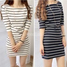 Women Striped Half Sleeve Over Hip Slim One-piece Dress