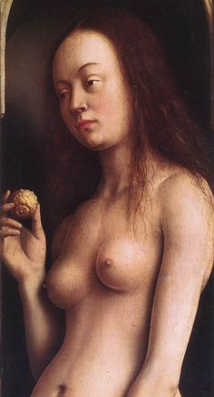 Hubert and Jan van EYCK / The Ghent Altarpiece with wings open (upper section) /   Eve (detail)  1425-29  Oil on wood  Cathedral of St Bavo, Ghent