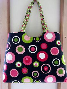 https://flic.kr/p/82fUaG | Tote/Market /Diaper /Beach /Craft Bag... Retro Circles in Black