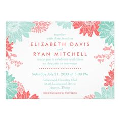 Mint and Coral Modern Floral Wedding Invitation Elegant spring and summer floral garden wedding invitation design with a mix of modern fonts and a bright colorful illustrated flower border.Click the CUSTOMIZE IT button to custom. Coral Wedding Invitations, Save The Date Invitations, Wedding Invitation Design, Bridal Shower Invitations, Wedding Stationery, Floral Invitation, Carton Invitation, Floral Save The Dates, Floral Wedding