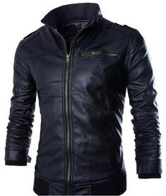 Youhan Mens Stand Collar Fleece Lined Faux Leather Motorcycle Jacket