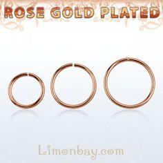 Segment Ring. Anillo barbell circular cerrado en Oro Rosa. Sin bola. Varios grosores y diámetros. El segment ring puede girarse 360º ya que es completamente, 3.67