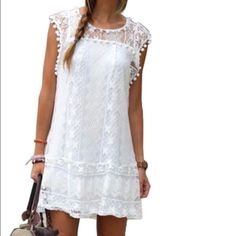 ✨Sale✨Mini Sleeveless White Boho Lace Dress✨ ✨Mini Sleeveless White Boho Lace Dress✨. GlamVault Dresses Mini