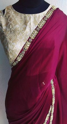 Visit us for all type of dress designing couture, custom made… Indian Attire, Indian Ethnic Wear, Indian Dresses, Indian Outfits, Maroon Saree, Pink Saree, Simple Sarees, Collor, Elegant Saree
