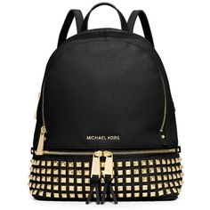 Michael Michael Kors Black Rhea Zip Small Backpack ($358) ❤ liked on Polyvore featuring bags, backpacks, black, leather studded backpack, leather backpack, leather knapsack, black leather knapsack and black leather bag