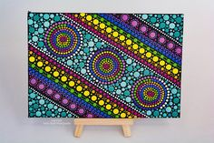 Original Hand painted Dotart # 56 Painted on a Canvas Board with Acrylics, measuring 17 x 12 centimetres. It has been finished with two coats of sealer Suitable for indoor display, easy wipe clean with a dry dusting cloth All my Canvas Board paintings come with a Free timber easel