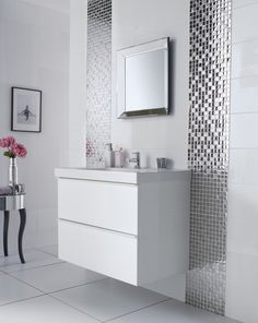 Image Of Modish Bathroom Wall Mirrors White Using Beveled Edge Over  Integrated Sink Vanity Top With
