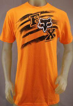 Fox Racing orange T-shirt with black white logo Mens Name Brand Shirts, Best Mens T Shirts, Camo Shirts, Mens Tees, Tee Shirts, Fox Racing Clothing, Hurley, Fox Logo, Men Closet