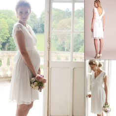 Maternity Wedding Gowns White Lace Cap Sleeves V Neck Knee Length Bride Dresses Simple Summer Pregnant Women Bridal Dress Wedding Wear Affordable Prom Dresses From Firstladybridals, $91.98| Dhgate.Com