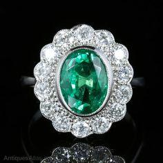 ~ Emerald Diamond Cluster Ring All Platinum 3.50ct ~ antiques-atlas.com