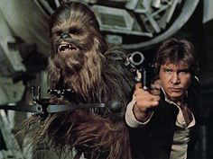 Peter Mayhew as Chewbacca and Harrison Ford as Han Solo (Star Wars film series) Star Wars Film, Han Star Wars, Star Wars Art, Star Trek, Harrison Ford, Peter Mayhew, Starwars, Star Wars Episodio Iv, Han Solo And Chewbacca