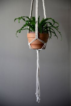 Small Business Saturday // Cyber Monday Sale  30% off at Bermuda Dream w/ code DREAMBIG  Handmade Knotted Macrame Plant Hanger by BermudaDream, boho chic natural home decor w/ fern