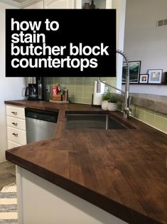 staining my butcher block counters — a life unfolding - shapova Kitchen Redo, Kitchen Design, Kitchen Ideas, Basic Kitchen, Kitchen Storage, Butcher Block Countertops Kitchen, Butcher Block Tables, Countertop Redo, Diy Wood Countertops