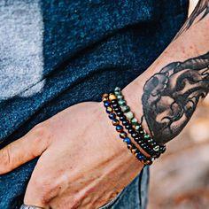ce4315e4bd448 FANALA Natural Lava Rock Stone Beads Strand Bracelet Wooden bead ...