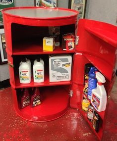 Features:  -Collector car accessory.  -Garage storage decor.  -Gas station theme.  -Powder coated finish.  -Made in the USA.  Color: -Red.  Material: -Metal.  Country of Manufacture: -United States. D