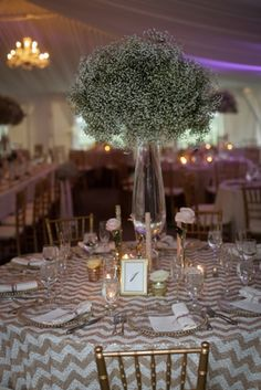 Tall babies breath centerpiece. Aurora Inn Wedding | Photography by Clark + Walker Studio | Floral by Stacy K Floral