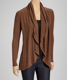 Loving this Brown Drape Open Cardigan on #zulily! #zulilyfinds