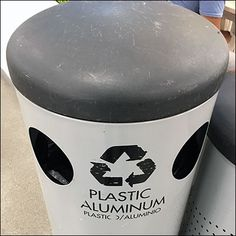 This IKEA Choice-Of-Two Recycling Bin clearly states Plastic / Aluminum in two languages. Does Plastic go left and Aluminum right?