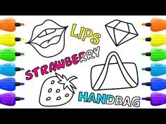 How to Draw Set of Accessories for Girls   Strawberry, Diamond, Handbag and Lips - Vidinterest