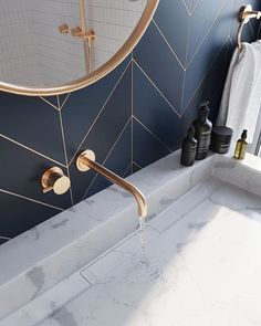 the day Bathroom .- des Tages Badezimmer – home decorasyon bathroom of the day - the day Bathroom .- des Tages Badezimmer – home decorasyon bathroom of the day - The wallpaper, the gold accents, the Blizzard vanity - everything about this space i. Bathroom Styling, Bathroom Interior Design, Bathroom Lighting, Bathroom Mirrors, Bathroom Cabinets, Paris Bathroom, Washroom Design, Gold Interior, Bad Inspiration