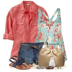 Floral blouse, created by tufootballmom on Polyvore