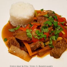 BIFF CHOP SUEY - HA-bloggen Chop Suey, Paella, Thai Red Curry, A Food, Rice, Beef, Ethnic Recipes, God, Blogging