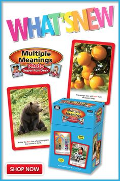 """What's NEW? Try our all new Multiple Meanings Photo Super Fun Deck to teach students multiple meaning words in sentences across four difficulty levels (grades K-2, 3-5, 6-8, and 9-12). """"Paige filled her bowl with berries from the garden. Lincoln was ready to bowl for the first time.""""  There are 25 match-up word pairs in each grade-level section (200 total cards). Cards are 4"""" x 6"""" and come in a sturdy storage box with Content Cards and Game Ideas. Multiple Meaning Words, Game Ideas, Sentences, Lincoln, Meant To Be, Berries, Students, Deck, Pairs"""
