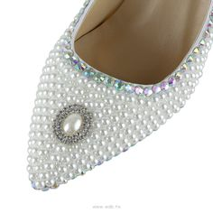 3.5 inch White Pearls Leather shoes $60.98