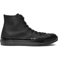 <a href='http://www.mrporter.com/mens/Designers/Converse'>Converse</a> honours its original 'Chuck Taylor All Stars' from the '70s by keeping the distinctive high-top profile and vintage details, including the star-embossed ankle patch, but reworks them in supple leather with a glossed-rubber toe cap and sole. Wear them with other classic pieces of streetwear, such as track pants or a hooded sweatshirt.