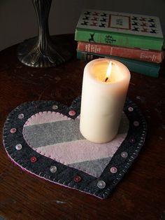 Coração Candle Mat- rosa e de cinza Dia dos Namorados