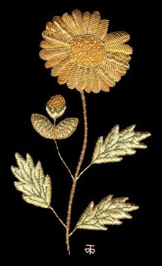 Marguerite Goldwork Embroidery Kit - a Hand Embroidery Design as an Alternative to Cross-stitch.