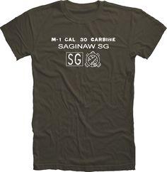 Saginaw M1 Carbine Recevier Stock Stamp WWII T Shirt Handmade Cotton cartouche #Handmade #GraphicTee #M1Carbine #Saginaw #Underwood #Rock-ola #Winchester #WWII #Tshirt #M1garand #Guns #Rifles #History