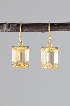 18K Faceted Champagne Citrine Earrings