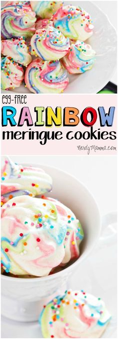 These rainbow meringue cookies were so freakin' easy to make! And the kids loved them! (and they're vegan--which is awesome)