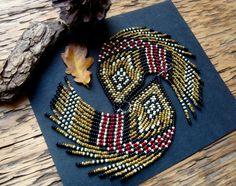 Pheasant Wing..Beaded Fringe Earrings Native by hoofandarrow