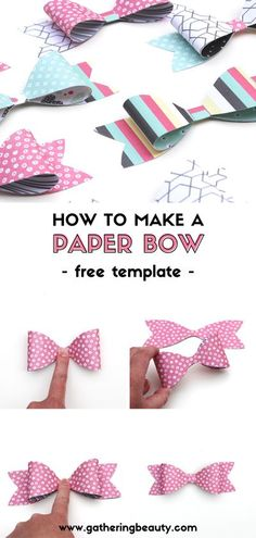 Today I'm sharing one of my favourite quick and easy ways to jazz up a gift, a printable paper bow template.   This template means it couldn't be easier to whip up a bow in a couple of minutes. All you need to do is cut out the three bow pieces, glue the two outer tabs to the centre and stick it onto the back ribbon piece. #paper #bow #paperbow #gift