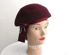 Burgundy colored wool felt hat, dressy beret style, satin and rhinestone trim, satin band, fully lined, vintage, 1950s by CardCurios on Etsy
