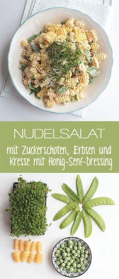 Nudelsalat mit Zuckerschoten, Erbsen und Kresse mit Honig-Senf-Dressing