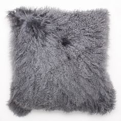 Mongolian curly lamb pillow in Smoke.  Available in 20 & 24 inch.