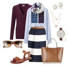 """Blue Stripes + Burgundy"" by megan-martin-i on Polyvore"