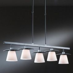 "Hubbardton Forge Wren 5 Light Pendant Finish: Bronze, Shade Color: Pearl, Stem Length: 46.2"" to 57"""