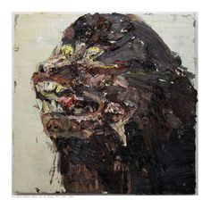 "Allison Schulnik Big Brown Monkey Head Oil on linen 60"" x 40"" 2009"