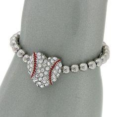 KATYDID Bling Rhinestone Heart Baseball Stretch Bracelet- Perfect softball team gift <3 $9.99