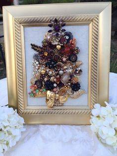 Vintage Jewelry Mosaic Framed 2014 Collection Golden Elegance Christmas Tree | eBay