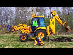 Colored Tractor Broken DOWN Funny Baby Ride on POWER WHEEL Tractor to Help Dad - YouTube