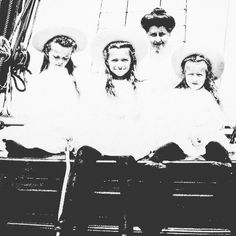 Grand Duchesses Olga Maria and Anastasia Nikolaevna of Russia with their mother's lady in waiting and friend Anna Vyrubova. by historyofromanovs