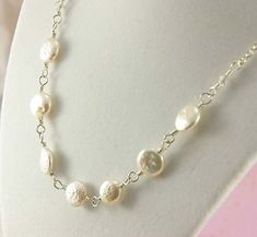 Freshwater Pearl Necklace - White Pearl Coins on Sterling Silver Chain - Wedding Jewelry on Etsy, $82.00